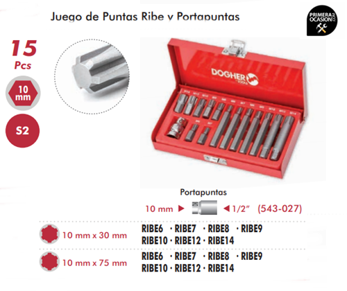 Imagen de Juego de puntas RIBE y portapuntas 15 piezas DOGHER TOOLS 438-005