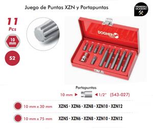 Imagen de Juego de puntas XZN y portapuntas 11 piezas DOGHER TOOLS 438-006