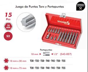 Imagen de Juego de puntas TORX y portapuntas 15 piezas DOGHER TOOLS 438-007