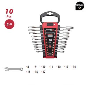 Imagen de Juego 10 llaves combinadas carraca plana sin reversor DOGHER TOOLS 4557-020
