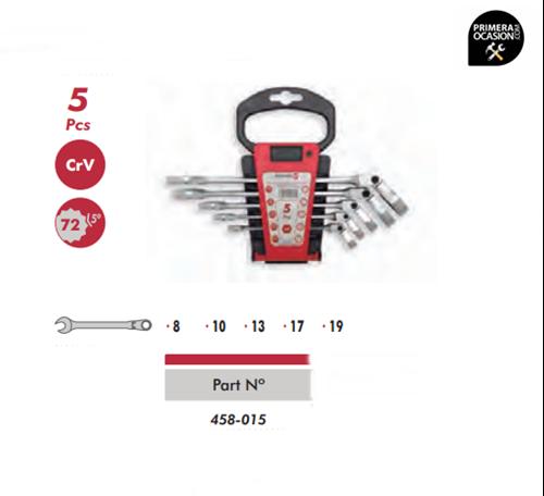 Imagen de Juego 5 llaves combinadas de carraca flexibles DOGHER TOOLS 458-015