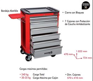 Imagen de Carro herramientas 7 cajones con bandeja abatible DOGHER TOOLS 025-012