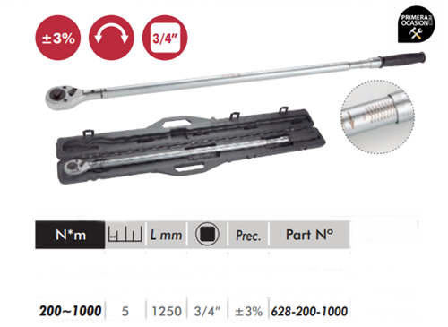 "Imagen de Llave dinamometrica profesional 3/4"" 200-1000 Nm DOGHER TOOLS 628-200-1000"