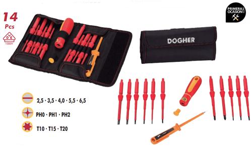 Imagen de Juego 14 destornilladores varillas intercambiables DOGHER TOOLS 360-012
