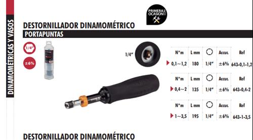 "Imagen de Destornillador dinamometrico 1/4"" DOGHER TOOLS 643-1-3.5"