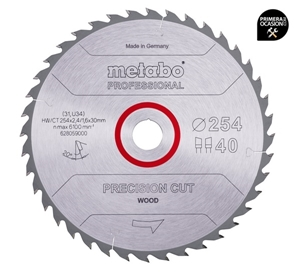 Imagen de Disco sierra METABO Precision Cut Wood  Profesional 254 x 30