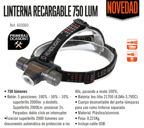Imagen de Linterna cabeza LED recargable 750 lumen